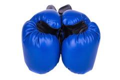 蓝色拳击手套,隔绝在白色背景 免版税图库摄影