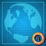 蓝色指南针地球映射打印 免版税库存照片