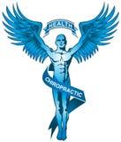 蓝色按摩脊柱治疗者徽标 皇族释放例证
