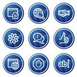 蓝色按通信图标互联网万维网 免版税图库摄影