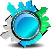 蓝色按钮下载 库存照片