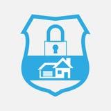蓝色按钮住家安全锁 库存照片