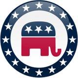 蓝色按钮共和党白色 库存照片