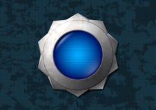 蓝色按钮发光的星形 免版税图库摄影