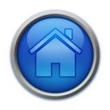 蓝色按钮家 免版税库存图片