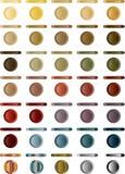 蓝色按钮按灰色浅红色的集 免版税库存照片