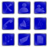 蓝色按钮方形向量万维网 免版税库存照片