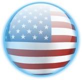 蓝色按钮标志美国 库存图片