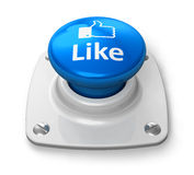 蓝色按钮概念喜欢网络社会 免版税库存照片