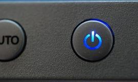 蓝色按钮次幂 库存图片