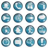 蓝色按钮玻璃深青色网站 库存图片