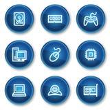蓝色按钮盘旋计算机图标万维网 库存图片