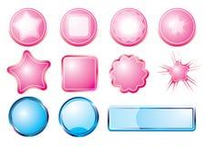 蓝色按钮粉红色 库存图片