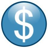 蓝色按钮美元图标符号 库存照片