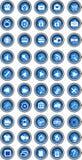 蓝色按钮集 免版税库存图片