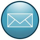 蓝色按钮e信包图标邮件 免版税库存照片