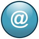 蓝色按钮e图标邮件符号 库存图片