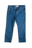 蓝色接近的牛仔裤上升白色 免版税库存图片