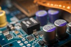 蓝色接近的颜色计算机主板 图库摄影
