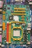 蓝色接近的颜色计算机主板 免版税图库摄影