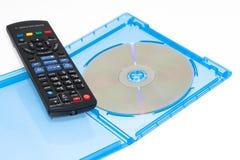 蓝色控制光盘电影光芒遥控 免版税库存照片