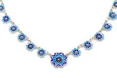 蓝色搪瓷花项链 库存图片
