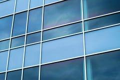 蓝色摆正窗口办公室现代透视背景 免版税图库摄影