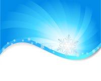 蓝色摘要和雪花Backround 免版税图库摄影