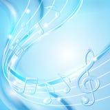 蓝色摘要注意音乐背景。 免版税库存图片