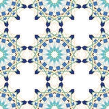 从蓝色摩洛哥瓦片,装饰品的华美的无缝的样式 免版税库存照片