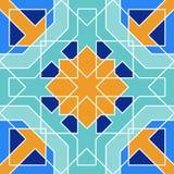 从蓝色摩洛哥瓦片,装饰品的华美的无缝的样式 免版税图库摄影