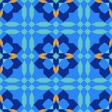 从蓝色摩洛哥瓦片,装饰品的华美的无缝的样式 库存照片