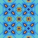 从蓝色摩洛哥瓦片,装饰品的华美的无缝的样式 免版税库存图片