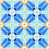 从蓝色摩洛哥瓦片,装饰品的华美的无缝的样式 库存图片