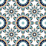 从蓝色摩洛哥瓦片,装饰品的华美的无缝的样式 图库摄影