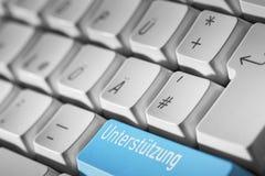 蓝色支持键盘按钮 库存照片