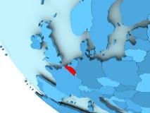 蓝色政治地球的比利时 免版税库存图片