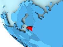 蓝色政治地球的爱沙尼亚 免版税库存照片