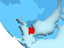 蓝色政治地球的韩国 免版税库存图片