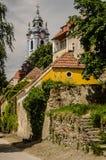 蓝色教会- Durnstein,奥地利 库存图片