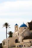 蓝色教会cyclades覆以圆顶希腊ios海岛海岛 免版税库存照片