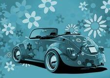 蓝色敞篷车和平与爱情 免版税库存图片