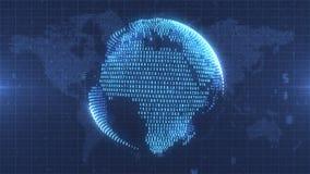 蓝色数字地球-地球从关于地球地图背景的数据形成了 图库摄影