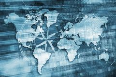 蓝色数字式世界概念 免版税图库摄影
