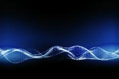 蓝色数字式波浪 向量例证