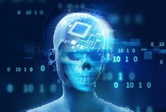 蓝色数字式网络头骨和cpu 3d例证 免版税库存图片