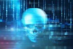 蓝色数字式网络头骨和cpu 3d例证 库存图片