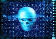 蓝色数字式网络头骨和cpu 3d例证 图库摄影