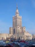 蓝色文化宫殿波兰科学天空夏天华沙 库存照片