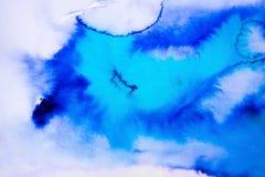 蓝色斑点,水彩 库存图片